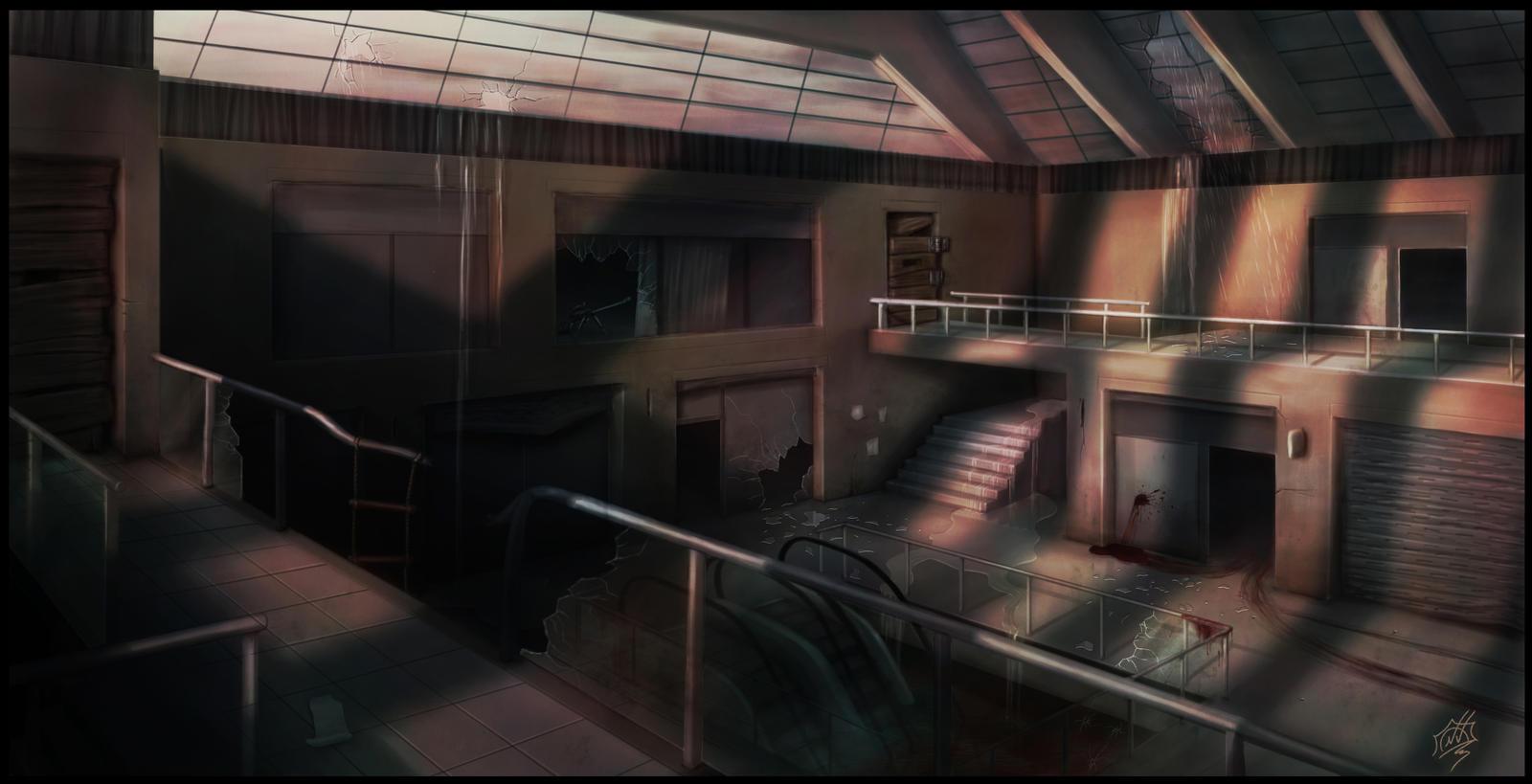 Zombie apocalypse mall by Snoeffel