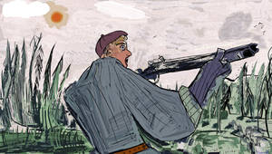 man forest gun