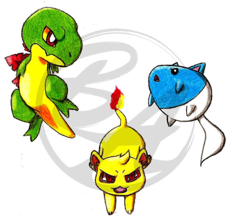 Fakemon Starters by Myuutsufan on DeviantArt