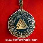 Valknut symbol in Rune Circle amulet pendant