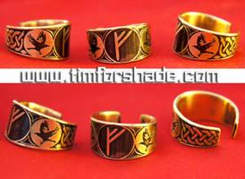 Rune Ring Huginn and Muninn viking ring by TimforShade