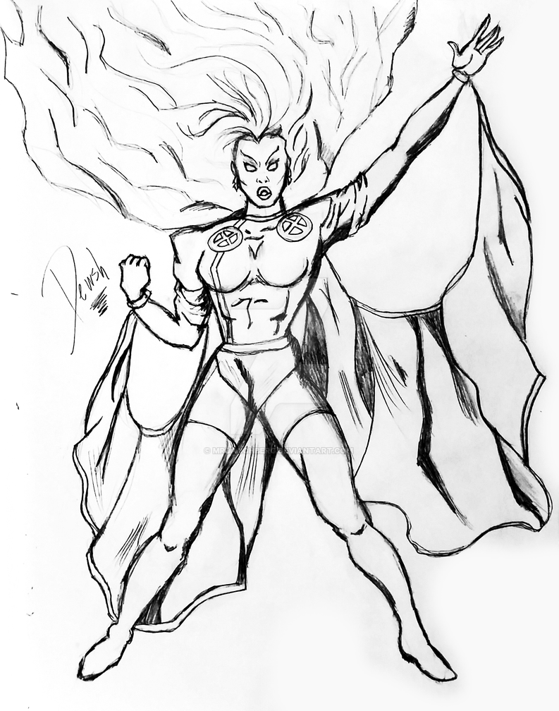 Storm 92 pencil sketch edited in gimp by mrdauchberg