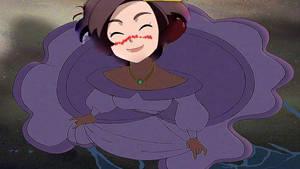 Grace as Ariel in her big purple dress