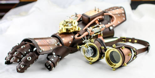 Mister Math Gauntlet and Goggle Set commission by CraftedSteampunk