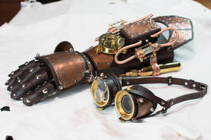 Steampunk Gauntlet and Goggles Phoenix Set by CraftedSteampunk