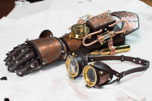 Steampunk Gauntlet and Goggles Phoenix Set
