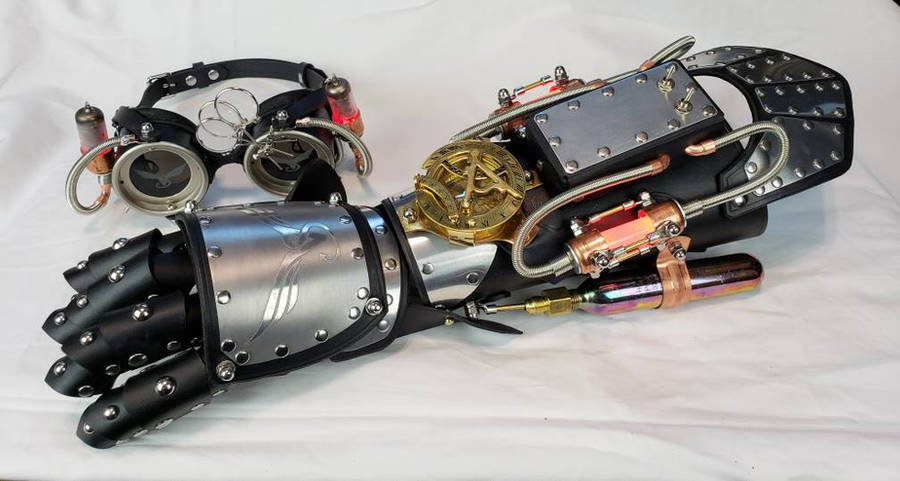Black and Silver Powered Gauntlet and Goggles by CraftedSteampunk