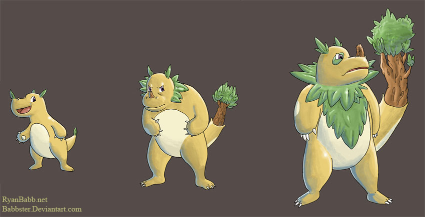 Grass Type Starters by babbster on DeviantArt