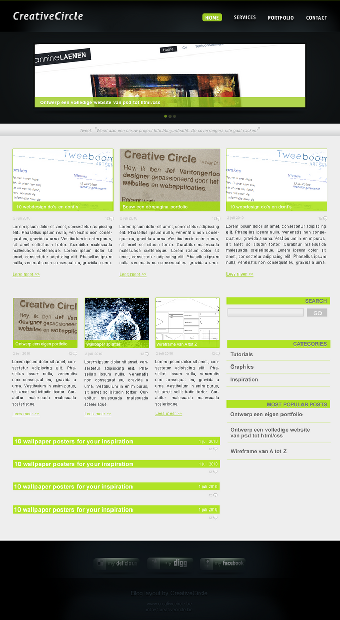 blog layout by creativecircle d30e5zo Web Design Inspiration: Inspiring and Creative Web Interface Designs