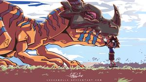Tai and Greymon Hug - Digimon Fanart by LucasMolla by LucasMolla