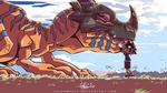 Tai and Greymon Hug - Digimon Fanart by LucasMolla