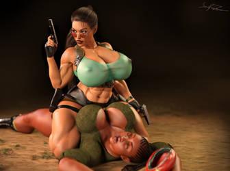 Lara Croft meets guerilla by Sonoftarzan