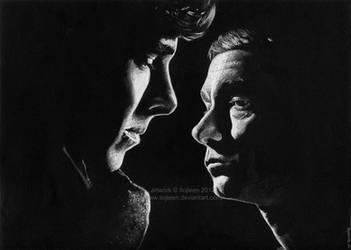 Sherlock Holmes and John Watson by Ilojleen