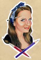 Self-portrait with art supplies by Ilojleen