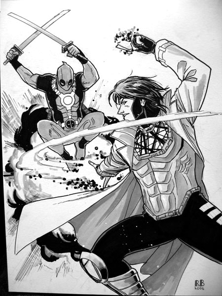 Gambit vs Deadpool by ReillyBrown