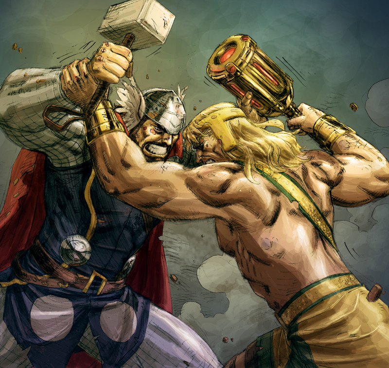 Hercules VS Thor colored by ReillyBrown on DeviantArt