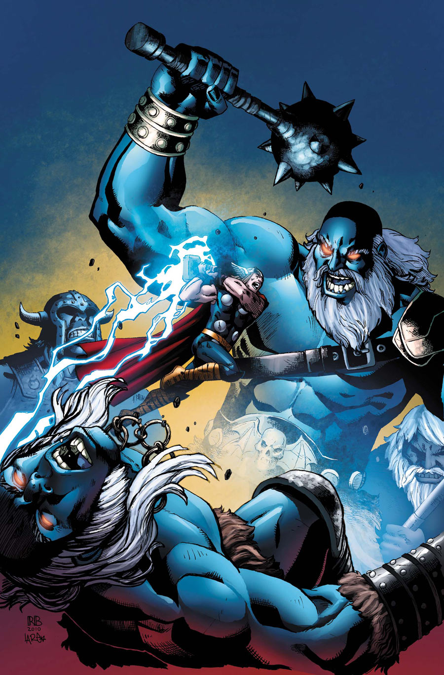 Thor vs Frost Giants colored