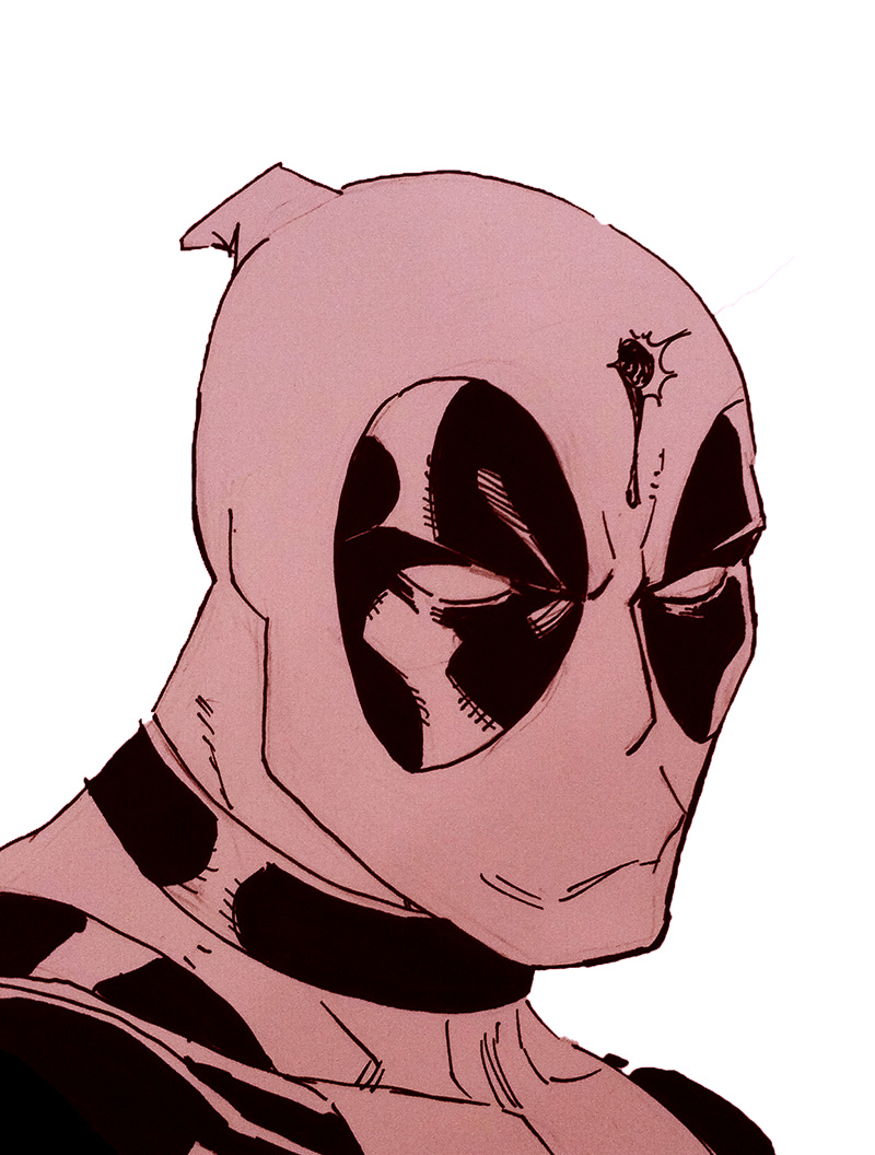 Deadpool headsketch by ReillyBrown