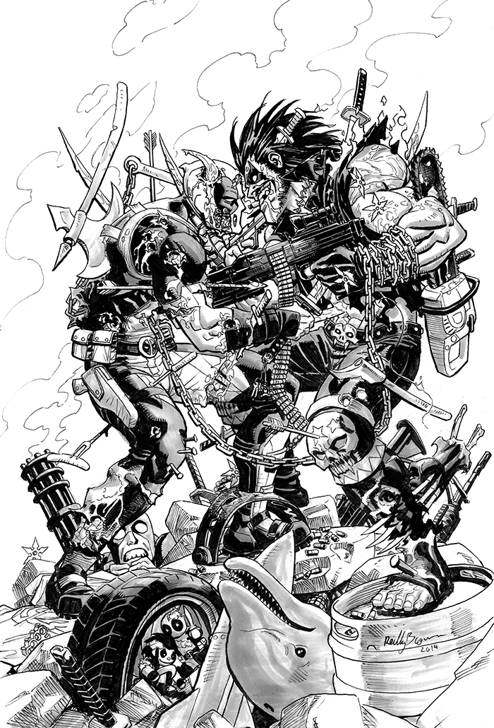 Deadpool vs Lobo by ReillyBrown