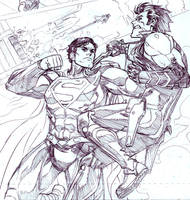 Lobo vs Superman by ReillyBrown