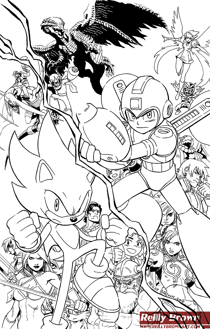 Mega Man and Sonic the Hedgehog by ReillyBrown