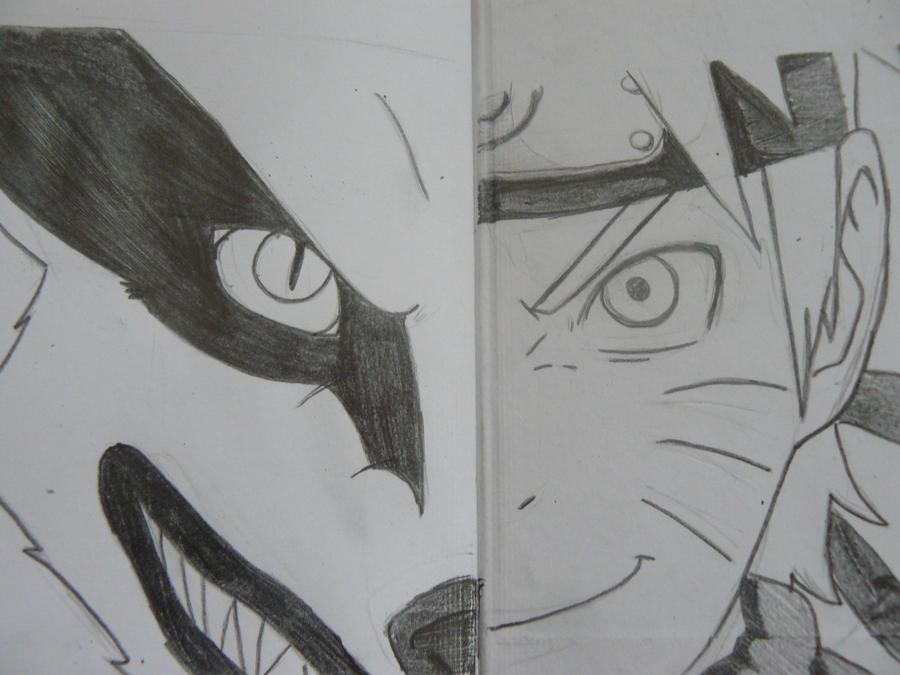 how to draw naruto and kurama