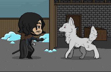 Jon Snow pets the good boi