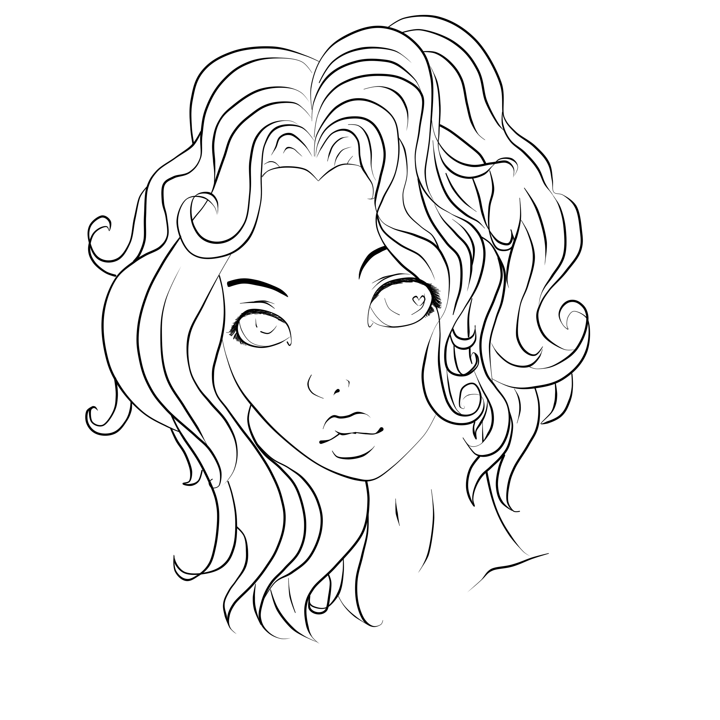 Line Drawing Hair : Curly hair by miss dameanor on deviantart