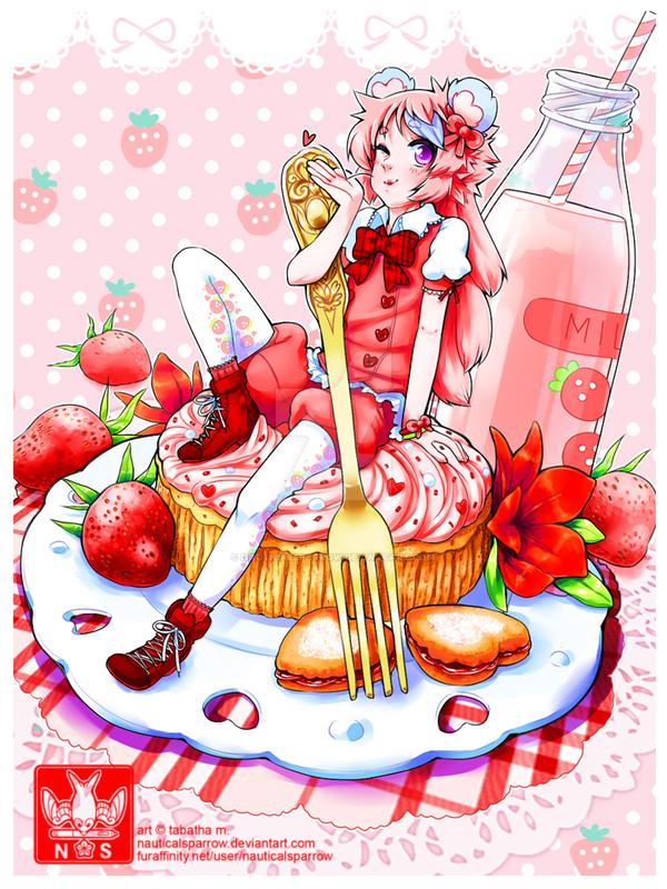 YCH | strawberry crazy! | KIRANA-CHAN by NauticalSparrow