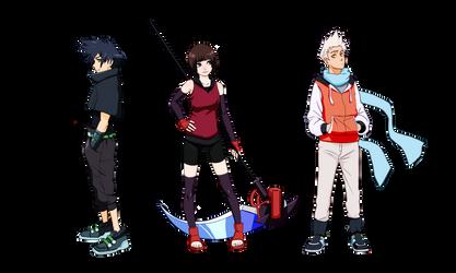 OC Shin, Ash and Nova by NE0SHIN