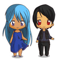 Rail and Votak human chibi by ABtheButterfly