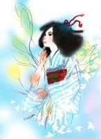 Summer feeling Kimono woman by La-h-i-n-a-y-u-m-e