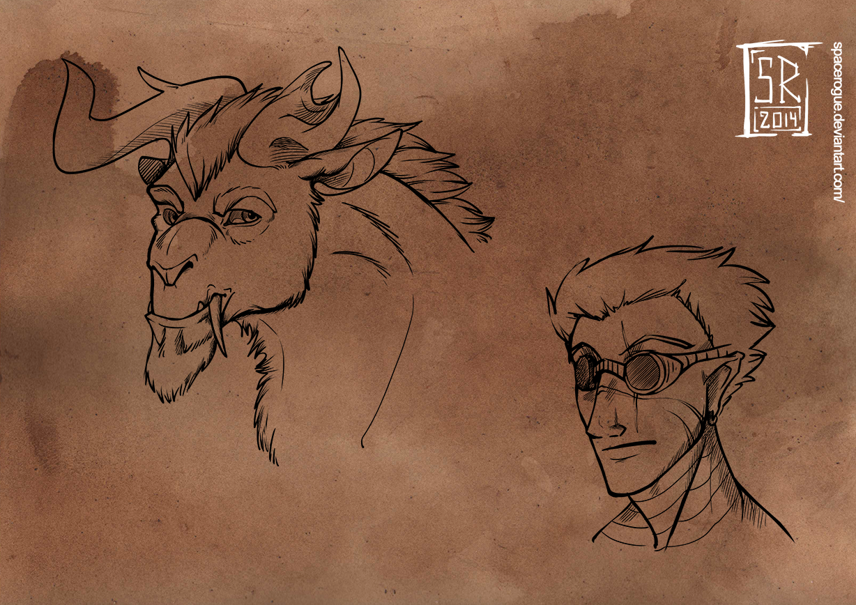 Sketches-Race-Chimeara by spacerogue