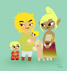 Link and Family dress-up by BeagleTsuin
