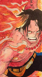 Portgas D. Ace Watercolor Bookmark