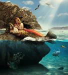 Sunbathing mermaids by black-cat16