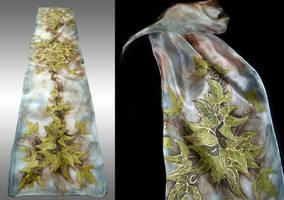 Leaves of Lorien - handpainted silk scarf by JankaLateckova