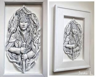 Elven King - relief sculpture by JankaLateckova