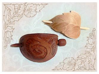 Tree and Leaf - hair barrettes by JankaLateckova