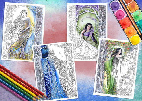 Elven Goddesses - coloring pages
