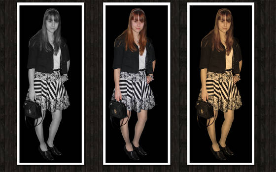 striped skirt with lace n_n