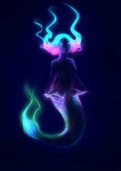 Bio-luminescent Mermaid (Work in Progress) by XernonaEcho