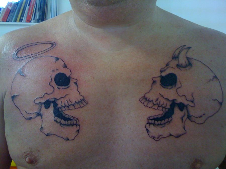 Good and Evil Skull Tattoo Design