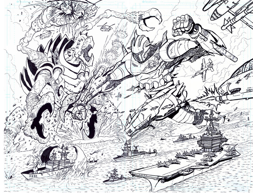 Giant Robot vs. Giant Crab...Thing! by RYANISFLYIN