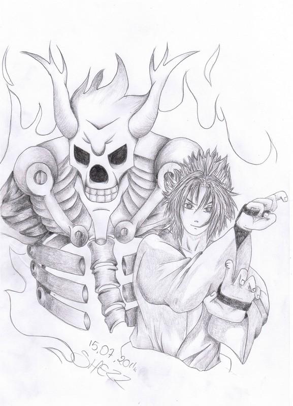 Contoh dan Cara menggambar Sasuke Susanoo