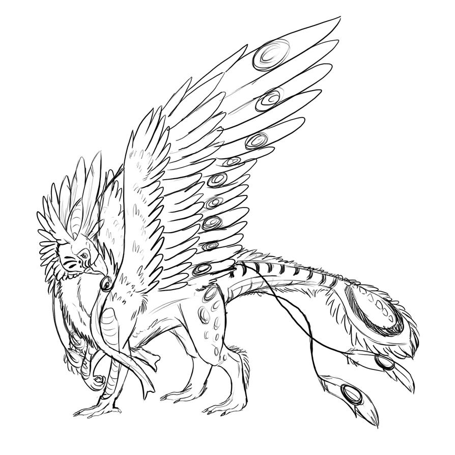 monsters and creatures griffin coloring page gryphon lineart by