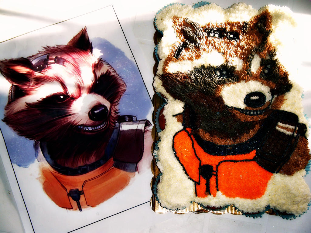 Rocket Raccoon cupcake cake by chiaopi