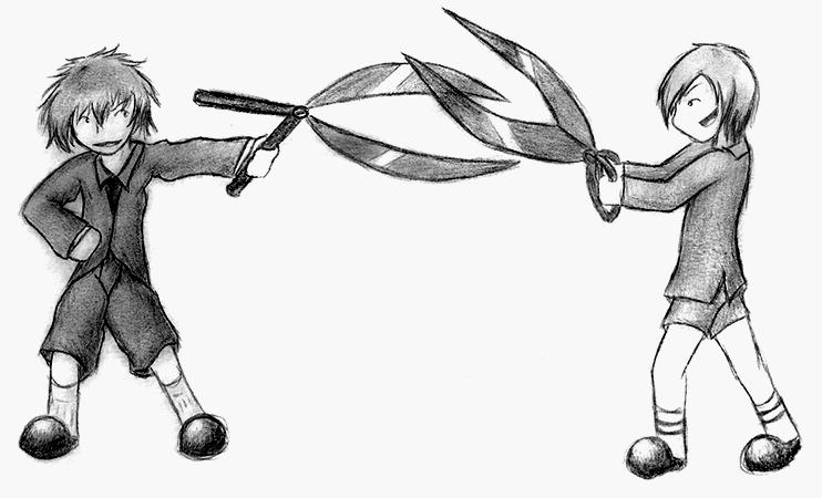 scissorfight by blooopie on deviantart
