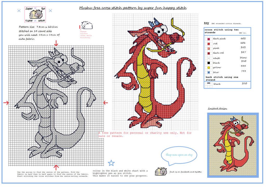 Mushu free cross stitch pattern by squirrelystitcher on DeviantArt