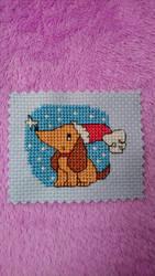 Snow Puppy cross stitch